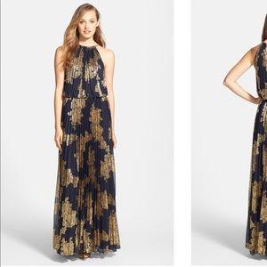 XSCAPE Foiled Blouson Gold Navy Metallic Gown 8